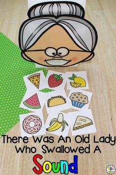 ThisThere Was An Old Lady Who Swallowed A Beginning Sound Activity is a hands-on way for pre-readers to work on identifying initial sounds. Letter Sound Games, Letter Sound Activities, Alphabet Activities, Fun Phonics Activities, Nursery Activities, Alphabet Worksheets, Therapy Activities, Preschool Phonics, Kindergarten Activities