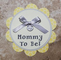 Baby footprint Theme honeycomb Button Pin- yellow and grey- for Baby Shower or Birthday Party (Quantity 1)