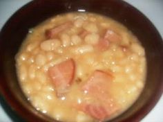Ham and beans with homemade cornbread.