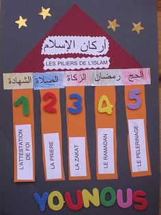 5 pillars of Islam - courtesy of L'Ecole Chez Younous Ramadan Activities, Ramadan Crafts, Ramadan Decorations, Craft Activities, Preschool Crafts, Crafts For Kids, 5 Pillars, Pillars Of Islam, Learn Arabic Online