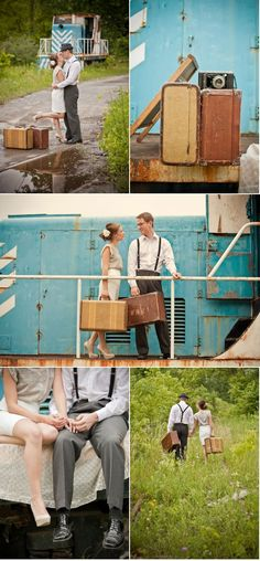 """I really like the idea of a train in wedding pictures. Reminds me of the song.. """"People all over the world, join hands, start a love train, a love train..."""""""