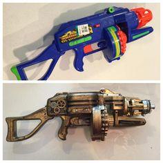 steampunk gun from toy gun makeover Steampunk Halloween, Steampunk Crafts, Halloween Diy, Cosplay, Nerf Mod, Steampunk Weapons, Foam Armor, Steampunk Couture, Steampunk Accessories