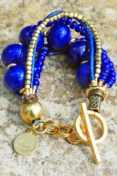 Lapis & Gold Bracelet:Lapis Venetian Glass & Gold Multi-Strand Bracelet