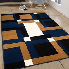 Found it at Wayfair - Hand-Woven Blue/Brown Area Rug Rug Size Guide, Navy Rug, Area Rug Sizes, Geometric Rug, Rugs On Carpet, Carpets, Diy Carpet, Modern Carpet, Outdoor Area Rugs