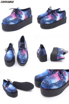 [Visit to Buy] Spring HARAJUKU VIVI  galaxy blue flat creepers platform shoes for woman casual women punk creeper pattern Shoes ladies Girls #Advertisement