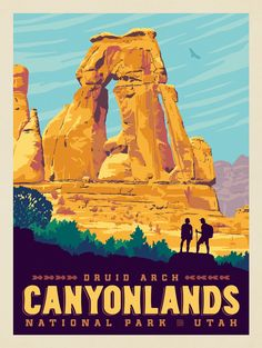 Canyonlands National Park: Druid Arch | Anderson Design Group American National Parks, National Parks Map, National Park Posters, Parc National, Carlsbad Caverns National Park, Canyonlands National Park, Mount Rainier National Park, Vintage Travel Posters, Retro Posters