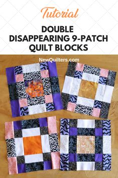 Transform ordinary nine-patch quilt blocks into beautiful blocks that look much harder to make than they really are. Tutorial from NewQuilters.com. #ninepatchquilt #ninepatchblocks #quiltsforbeginners #quiltingtutorials Quilting For Beginners, Quilting Tips, Quilting Tutorials, Easy Quilts, Small Quilts, Book Quilt, Quilt Top, Nine Patch Quilt, Disappearing 9 Patch