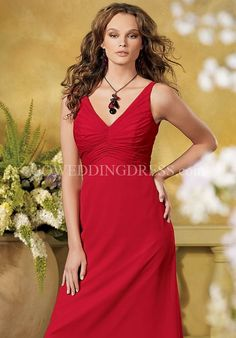 A-Line V-Neck Chiffon Bridesmaid Dress Style 839