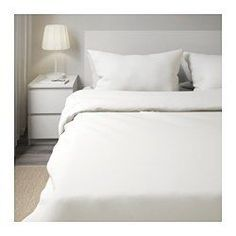 IKEA - DVALA, Quilt cover and 2 pillowcases, 150x200/50x80 cm, , Concealed press studs keep the quilt in place.