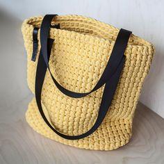Bolso de mano amarillo Crochet por KnitKnotKiev en Etsy