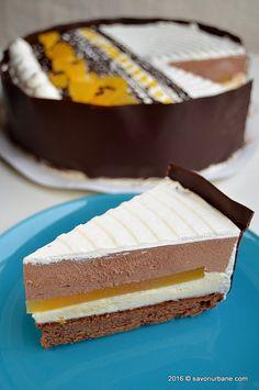 Entremet de ciocolata cu insert de jeleu de portocale Savori Urbane (3) Sweets Recipes, Cake Recipes, Cooking Recipes, Orange Mousse, Romanian Food, Mousse Cake, Something Sweet, Cakes And More, Vanilla Cake
