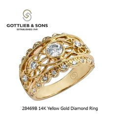 This gorgeous 14K Yellow Gold Diamond ring is a piece of art.  This #vintage inspired #diamond ring features bezel and bead set diamonds surrounded by intricate milgrain design. Visit your local #GottliebandSons retailer and ask for style number 28469B. http://www.gottlieb-sons.com/product/detail/28469B