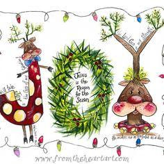 Christmas Joy Reindeer – From the Heart Art Christmas Scripture, Christmas Quotes, Christmas Holidays, Christmas Crafts, Christmas Decorations, Christmas Ornaments, Xmas, Reindeer Christmas, Christmas Printables