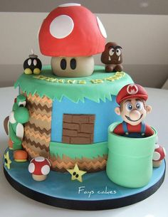 Super Mario Fun: You can almost hear the theme song playing upon setting eyes on this magnificent Super Mario Brothers cake. With an authentic looking Mario and plenty of mushrooms, it will the lil gamers favorite cake ever! Source: Flickr User Fays cakes