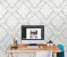 "Ariel Peel and Stick 18' x 20.5"" Damask Wallpaper"