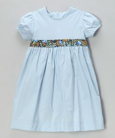 Another great find on #zulily! Dusty Blue & Navy Floral Puff-Sleeve Dress - Toddler & Girls #zulilyfinds