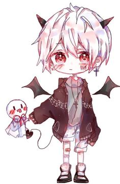 Do you love a sweet devil? Dibujos Anime Chibi, Cute Anime Chibi, Kawaii Chibi, Cute Anime Guys, Kawaii Anime Girl, Kawaii Art, Chibi Girl Drawings, Kawaii Drawings, Cute Drawings