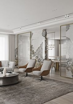 Home Decor Ideas 2020 Magnificent Modern Marble Interior With Metallic Accents Living Room Interior, Home Interior, Interior Architecture, Living Room Decor, Living Rooms, Bedroom Decor, Luxury Decor, Luxury Interior Design, Small Luxury Bathrooms
