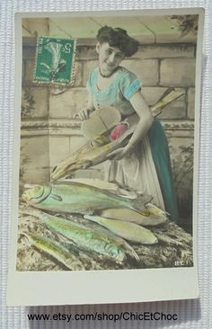 French Antique Postcard - Woman Holding a Wooden Fish with Eggs Inside (Poisson…