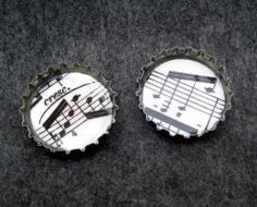 Sheet music run off on card stock is one of my favorite craft decorations for magnets, pendants, greeting cards, and more.