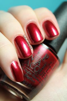 """Opi - I'm Not Really a Waitress - beautiful red shimmer, perfectly matches David's Bridal """"apple"""" color! Maybe for my toes?"""