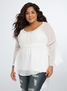Plus Size Chiffon Lace Inset Blouse