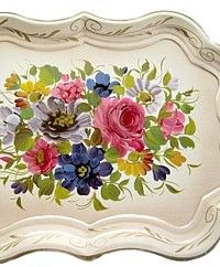 Shabby Chic Cream Chippendale Toleware Tray Floral Bouquet