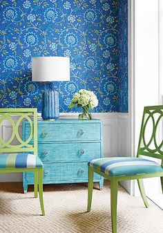 Vibrant and transitional the Thibaut Caravan Collection combined with Sevita wallpaper in Blue and Green. Jayanti Stripe woven fabric in Blue and Green.