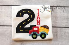 Construction Birthday Shirt. Personalized Boy's Tshirt for Birthday. Bday Construction with Number and Dump Truck. Embroidered.
