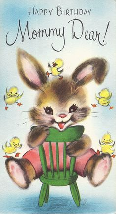 Vintage Birthday mommy dear greeting card with rabbit by Charm by jarysstuff