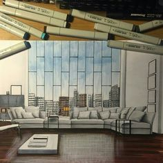 Drawings of Architecture and Interior Design. By Daniel Wikström. Interior Architecture Drawing, Interior Design Renderings, Architecture Concept Drawings, Drawing Interior, Architecture Sketchbook, Interior Rendering, Interior Sketch, Architecture Design, Decoration