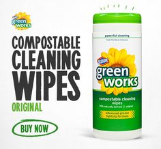 Green Works Compostable Cleaning Wipes in Water Lilly and Original Scents are powerful, convenient and made from naturally derived ingredients.