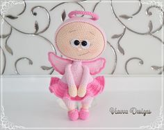 "2,076 Gostos, 12 Comentários - ❤ Havva Designs ❤ (@havvadesigns) no Instagram: ""Pink Angel  #bonnie #doll #crochetdoll #amigurumidoll #pinkangel #angelbonnie #crochetangel…"" Amigurumi Doll, Amigurumi Patterns, Doll Patterns, Crochet Patterns, Flower Costume, Crochet Butterfly, Wool Art, Fabric Dolls, Crochet Dolls"