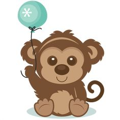 Birthday Monkey SVG scrapbook cut file cute clipart files for silhouette cricut pazzles free svgs free svg cuts cute cut files