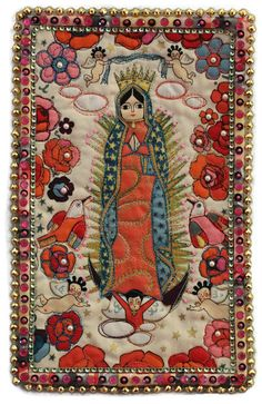 Mexican Art Quilt Our Lady of Guadalupe Saint Wall Hanging