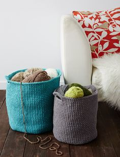 Quick and easy stash baskets are a stylish storage option for yarn and other craft supplies: free crochet pattern