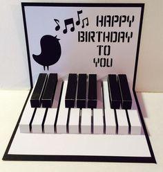 Feliz cumpleaños Piano Popup 3D archivo de corte por MyCasualWhimsy                                                                                                                                                                                 Más