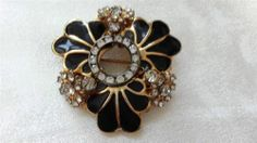 Vintage Miriam Haskell Black Glass Enamel Rhinestone Signed Gold Brooch Pin | eBay