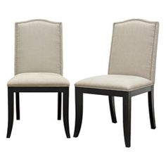 @Overstock - With high-quality cushioning fit for long hours of dinner parties, these chairs will complete any dining area. These laid-back modern dining chairs feature black wooden legs with non-marking feet and beige linen upholstery to bring style to your space.http://www.overstock.com/Home-Garden/Baudette-Beige-Modern-Dining-Chairs-Set-of-2/5902785/product.html?CID=214117 $392.09