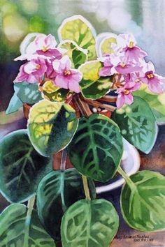 "Mary Sorrows Hughes  ~  ""Sunlit Violets""  ~ Watercolor"