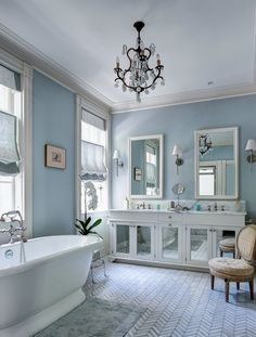 I like the tile and the paint - skylight from farrow & ball. and of course, chair and plant in the bathroom