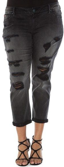 Plus Size Women's Slink Jeans Distressed Roll Cuff Stretch Boyfriend Jeans