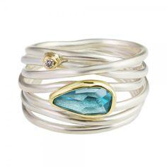 Margoni: Asymmetric Aquamarine & Diamond Wide Wrap Ring