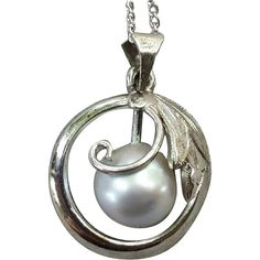 Vintage Sterling Silver and Pearl Necklace Rhodium Plated Metal from toinetterl on Ruby Lane
