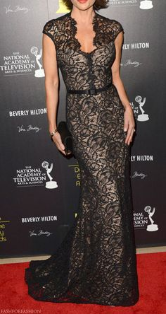 beautiful black lace gown and skinny belt from THEIA's Pre-Fall 2012 Collection, worn by Lisa Rinna at The 39th Annual Daytime Emmy Awards