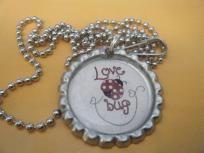 Love Bug Bottlecap Necklace