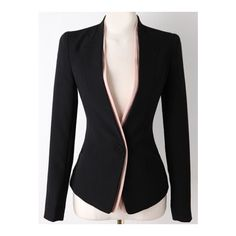 SheIn(sheinside) Black Long Sleeve Single Button Slim Blazer ($24) ❤ liked on Polyvore featuring black