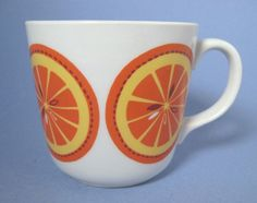 Arabia of Finland Pomona Orange Mug Coffee Cup Mid-Century Modern Vintage Dishware, Vintage Pottery, Vintage Kitchen, Orange Mugs, Lassi, Vintage Coffee, Treasure Chest, The Good Old Days, Mug Cup