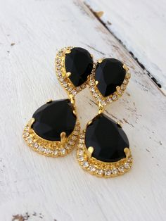Black Chandelier Earrings Bridal Bridesmaid Dangle