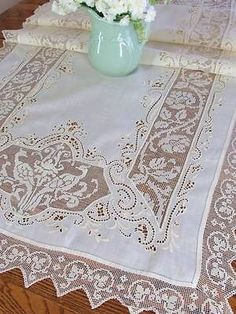 Long Antique Figural Bird Peacock Filet Lace Linen Table Runner 79x28 | Vintageblessings